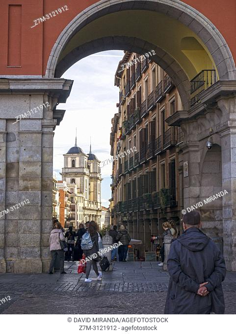 Colegiata de San Isidro from Plaza Mayor. Madrid, Spain