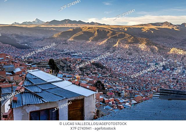 Panoramic view of La Paz, from El Alto, in background Los Andes mountains, La Paz, Bolivia