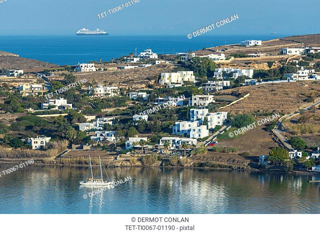 Houses by Paros Harbor in Greece