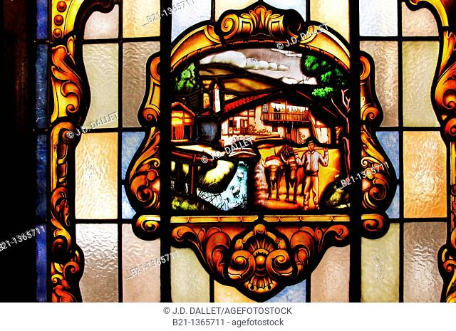 Stained glass in a bar, depicting a typical 'caserio' (Basque farm house), Irun, Guipuzcoa, Basque Country, Spain