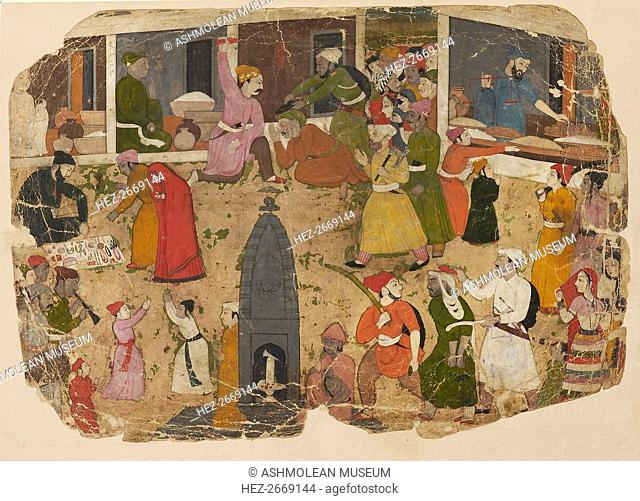 A commotion in the bazaar, 1750-1760. Artist: Nainsukh