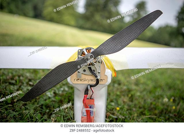Propeller on the back of a drone