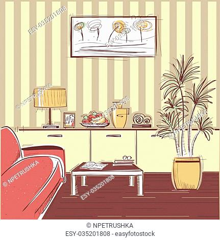 modern interior of living room with couch.Vector sketchy illustration of modern furniture