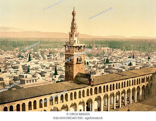 General View and Minaret of the Bride, Umayyad Mosque, Damascus, Syria, Photchrom Print, circa 1900
