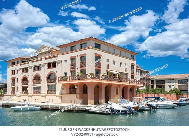 Apartment house in Port Frejus, Fréjus, Var, Provence-Alpes-Cote d`Azur, France, Europe