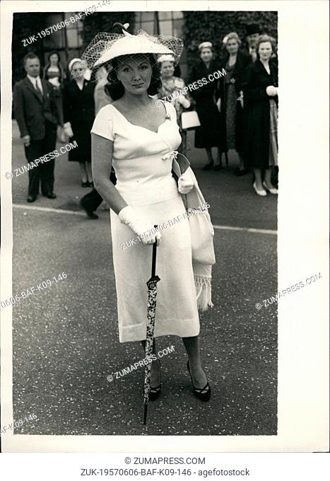 Jun. 06, 1957 - Opening Of The Wimbledon Tournament Straw Hat With Two Swan Heads: Photo Shows Mrs. Nevil Leyton of Harley Street wears a white jersey and a...