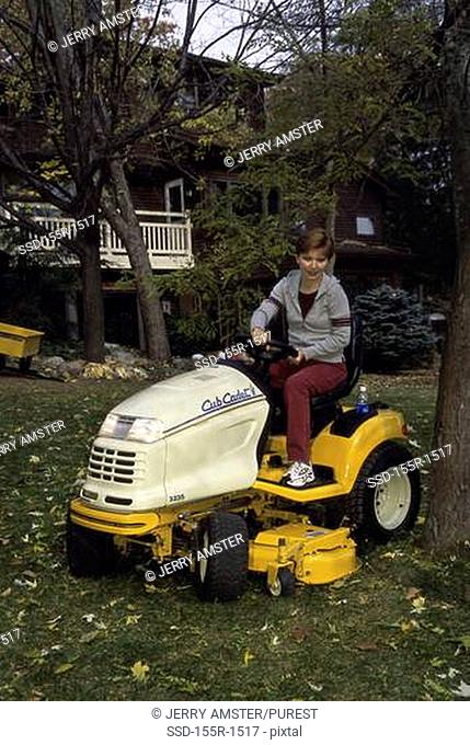 Sitting riding lawn mower Stock Photos and Images | age