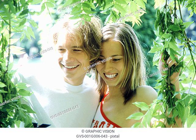 Young couple in a garden