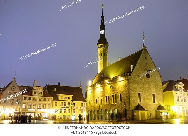 Town Hall and Old Town Square at night. Tallinn, Estonia