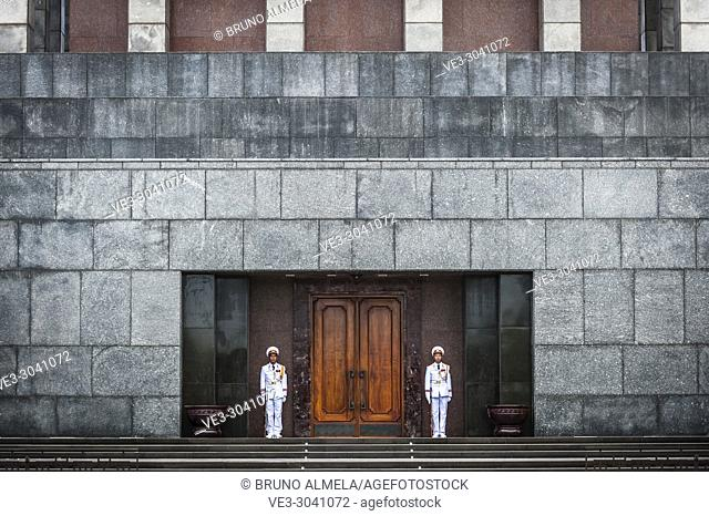 Guards in The Ho Chi Minh Mausoleum, located in the center of Ba Dinh Square, Hanoi (Vietnam)