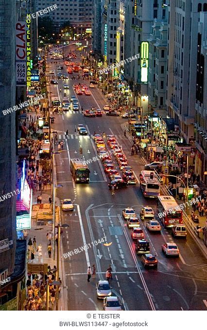Gran Via in the evening, Spain, Madrid