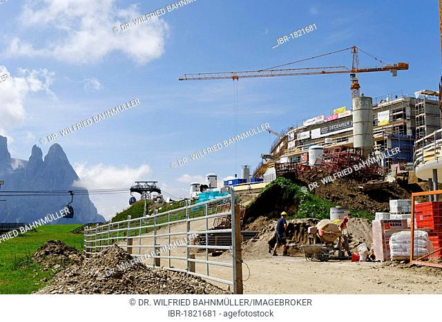 Seiser Alm alpine pastures, construction site at Compatsch, Alto Adige, Italy, Europe