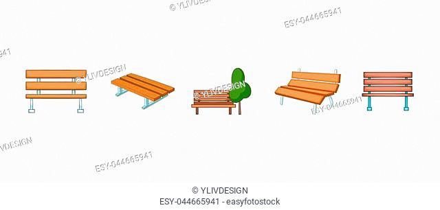 Bench icon set. Cartoon set of bench icons for your web design isolated on white background