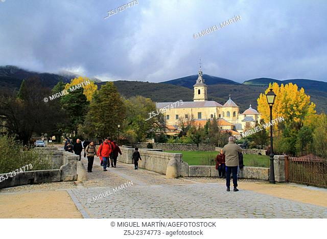 View over the monastery of El Paular from the Puente del Perdón (Bridge of the Pardon) in a cold and cloudy Autumn morning; this bridge was the last point where...