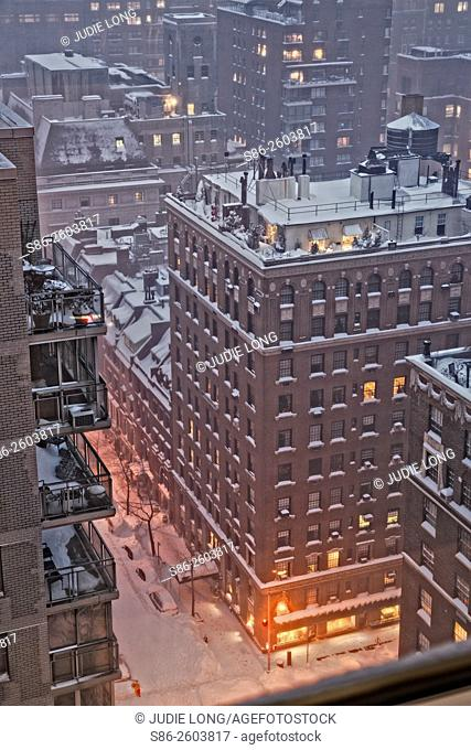 Looking Down, from a 23rd Floor Window, at Lexington Avenue and East 69th Street, Manhattan, New York City, During a Blizzard