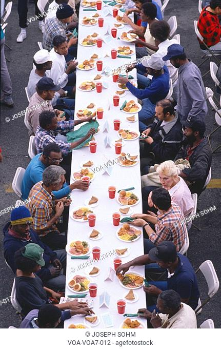 Christmas dinner at the Los Angeles Mission Homeless Shelter, CA