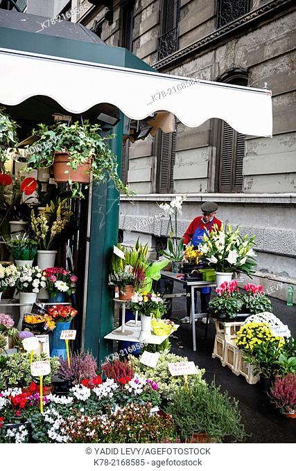 Flower shop, Milan, Italy