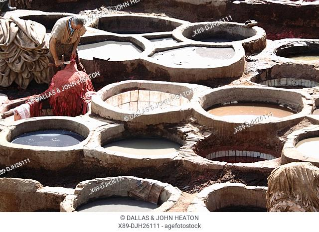 Africa, North Africa, Morocco, Fes, Fès el Bali, Old Fes, Medina, Old Town, Medieval Traditional Tanneries, The Chouara Tannery