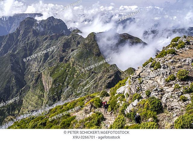 hiking trail in the central mountain range between Madeira's highest peaks Pico Arieiro und Pico Ruivo, Madeira, Portugal, Europe