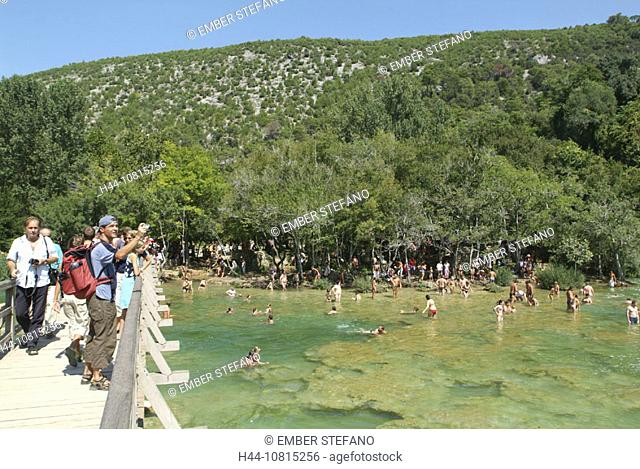 bar, bathing, river, tourist, tourism, scenery, landscape, Croatia, Europe, Krka, national park, national park, nation