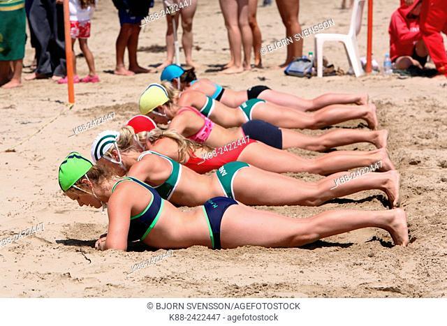 Beach flag; a sporting event for surf lifesavers. Surfcoast, Victoria, Australia