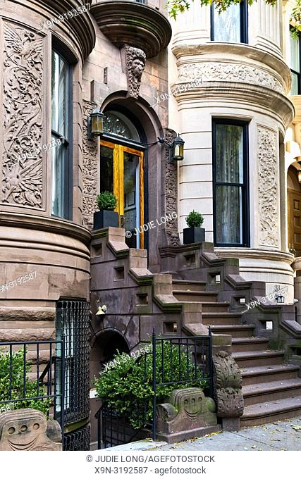 New York City, Manhattan, Upper West Side. Brownstone Townhouse Stairway and Entry