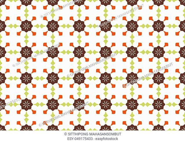 Dark brown vintage flower and arrow shape pattern on light yellow background. Classic bloom seamless pattern style for old design