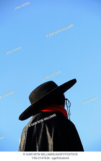 Boy dressed as zorro at a carnival in rome italy