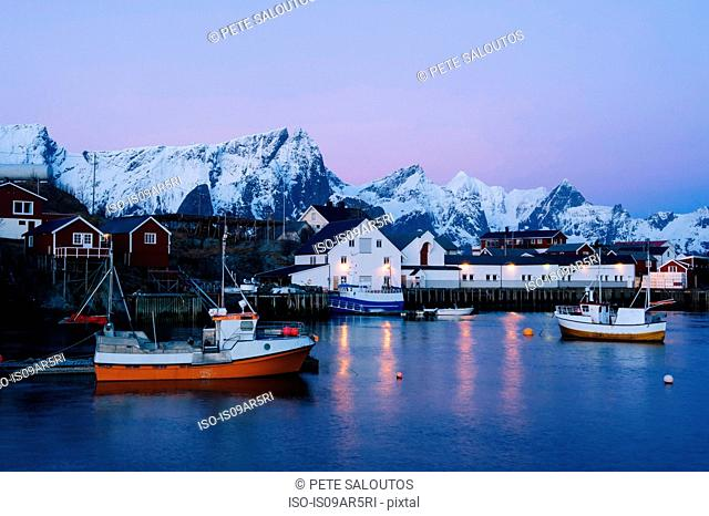 The fishing village of Reine at dusk, Lofoten, Norway