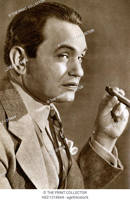 Edward Goldenberg Robinson, American stage and film actor of Romanian origin, 1933. Edward G Robinson (1893-1973) was one of Hollywood's top box office draws in...