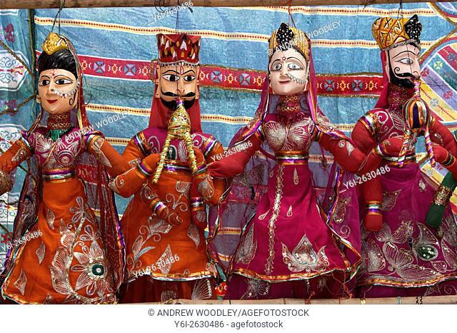 Traditional character puppets on sale Anjuna Flea Market Goa India