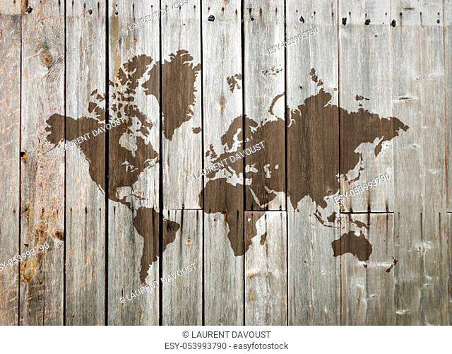 World map on a vintage wooden wall