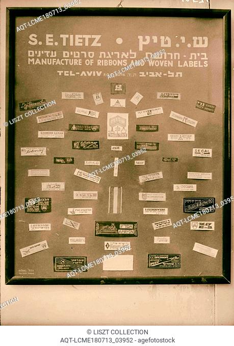 Jewish factories in Palestine on Plain of Sharon & along the coast to Haifa. Nachlat Izhak. Manufacture of ribbons & woven labels