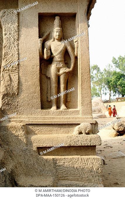 Five Rathas Pancha Rathas temple created in 7th century ; Mahabalipuram Mamallapuram ; Tamil Nadu ; India