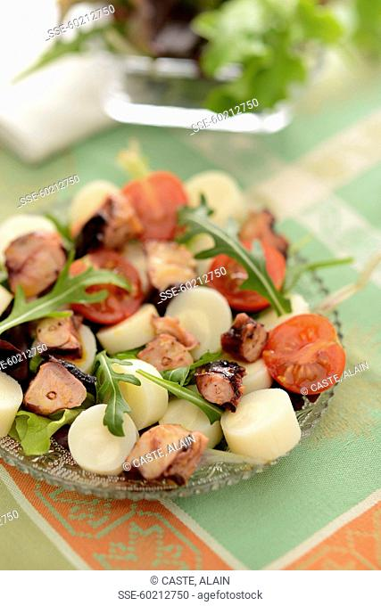 Octopus and palm heart mixed salad