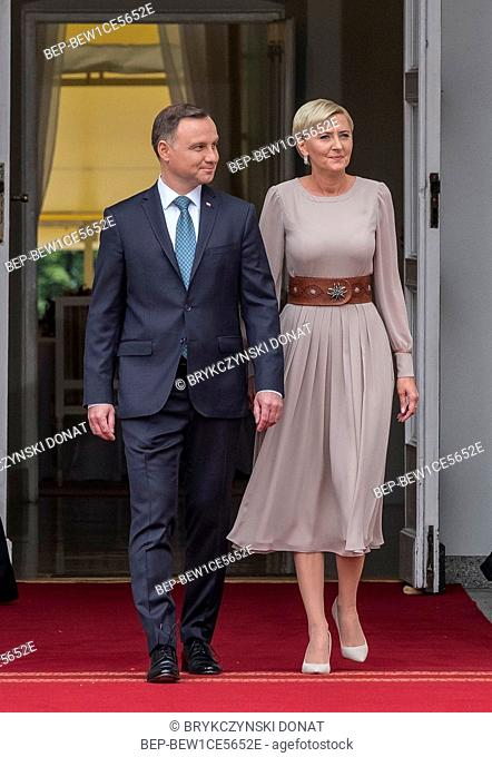 Britain's Prince and Princess of Cambridge William and Kate visit in Warsaw, Poland on July 17th, 2017. Pictured: President Andrzej Duda, first lady Agata Duda