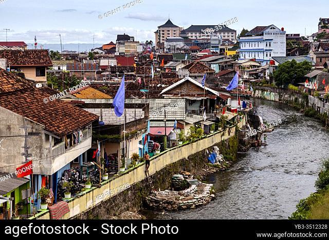 The City of Yogyakarta and The Kali Code River, Yogyakarta, Java, Indonesia