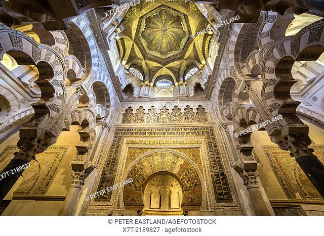 The Dome above the mihrab with its carved stucco and mosaic decoration. Great Mosque, La Mezquita, in Cordoba, Spain