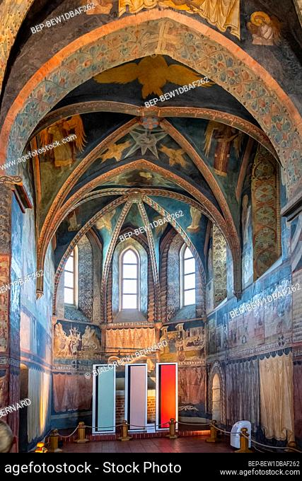 Lublin, Lubelskie / Poland - 2019/08/18: Medieval frescoes and architecture inside the Holy Trinity Chapel within Lublin Castle royal fortress in historic old...