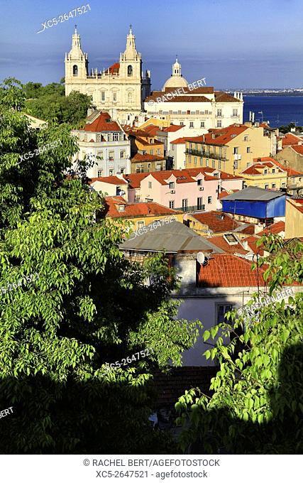 Panoramic view of Alfama, Lisbon, Portugal