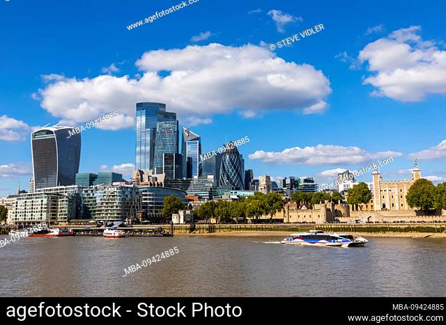 England, London, The City of London Skyline and The Tower of London