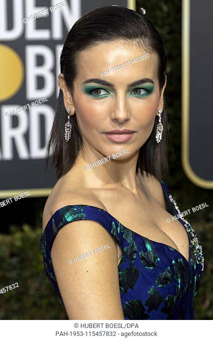Camilla Belle attends the 76th Annual Golden Globe Awards, Golden Globes, at Hotel Beverly Hilton in Beverly Hills, Los Angeles, USA, on 06 January 2019