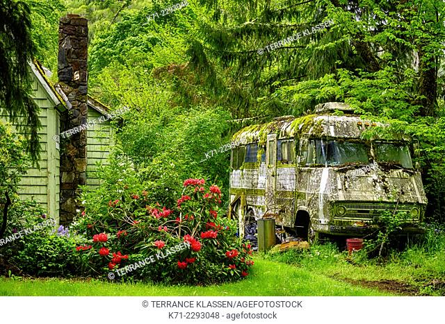 A moss covered abandoned RV in the forest near Cottage Grove, Oregon, USA