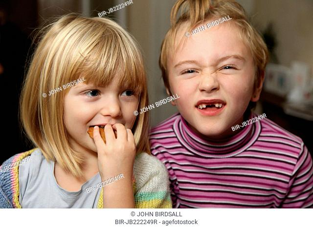 Children making funny faces