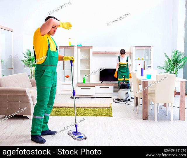 The cleaning professional contractors working at house