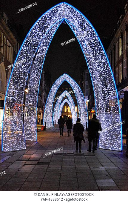 Christmas lights on South Molton Street in the heart of London, England