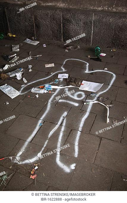 Love Parade 2010, spray chalk outline of a person killed in a stampede, Duisburg, Ruhr Area, North Rhine-Westphalia, Germany, Europe