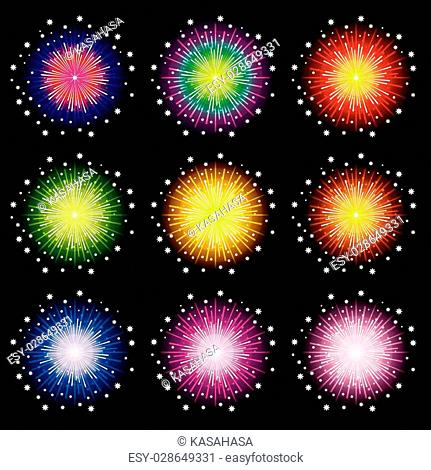 Fireworks set on black background, Vector illustration