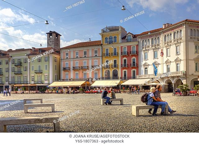 the center of Locarno, Ticino: the Piazza Grande