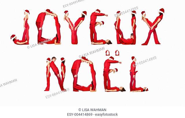 Elfs forming the phrase &039, Joyeux Noel&039